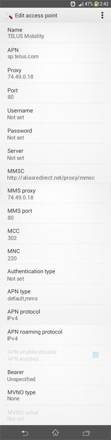 TELUS Mobility  APN settings for Android