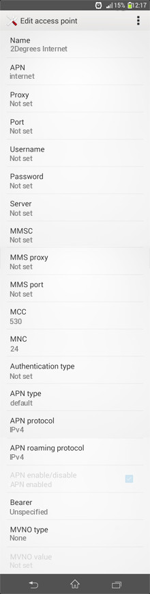 2Degrees Internet APN settings for Android