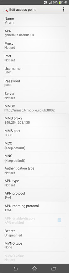 Virgin  APN settings for Android