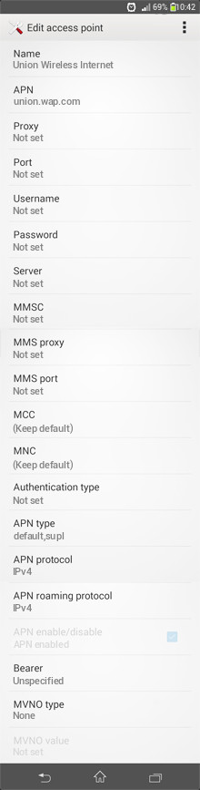 Union Wireless Internet APN settings for Android