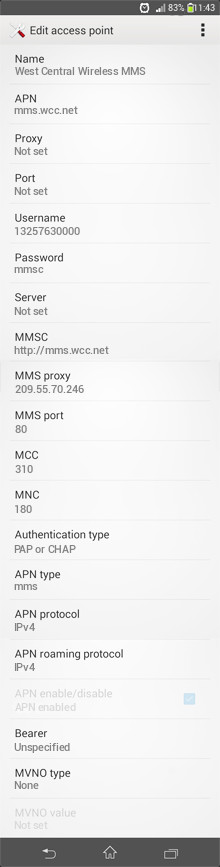 West Central Wireless MMS APN settings for Android