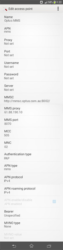 Optus MMS APN settings for Android