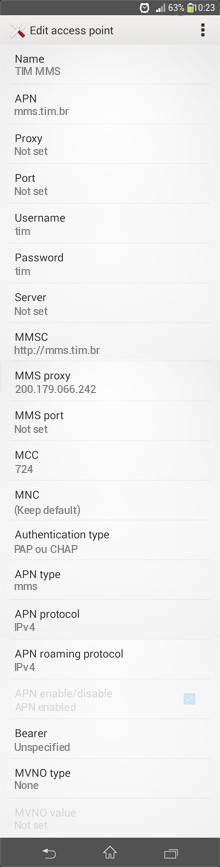 TIM MMS APN settings for Android