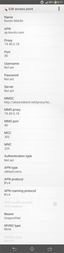 Koodo Mobile  APN settings for Android