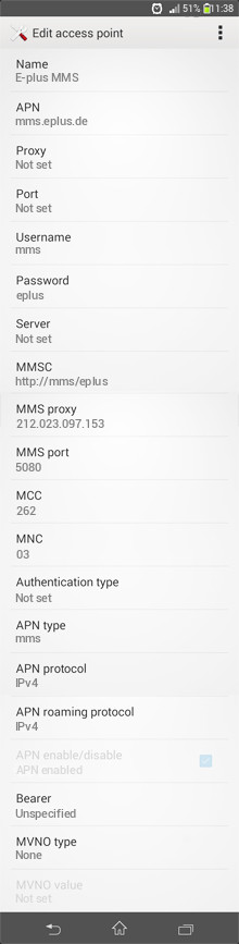 E-plus MMS APN settings for Android