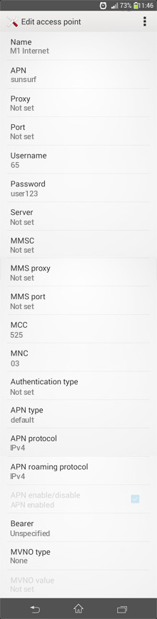 M1 Internet APN settings for Android