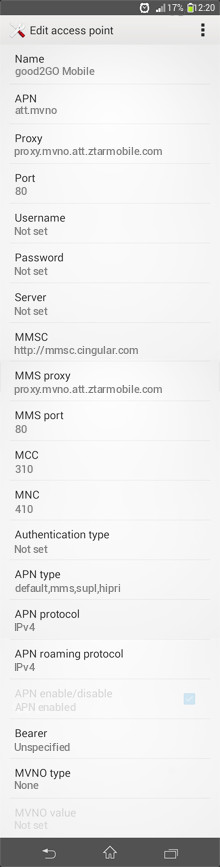 good2GO Mobile  APN settings for Android