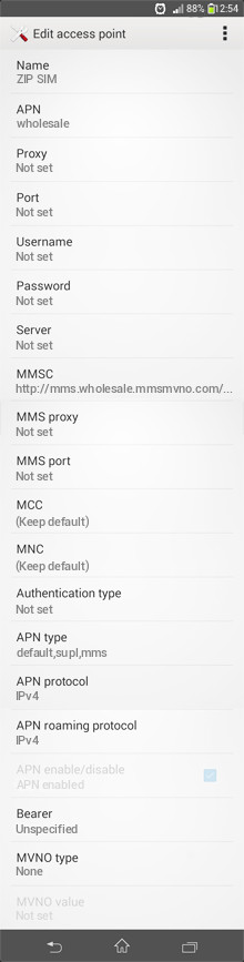 ZIP SIM  APN settings for Android