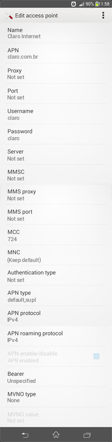 Claro Internet APN settings for Android
