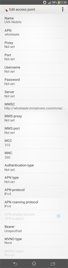 UVA Mobile  APN settings for Android