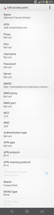 Walmart Family Mobile  APN settings for Android