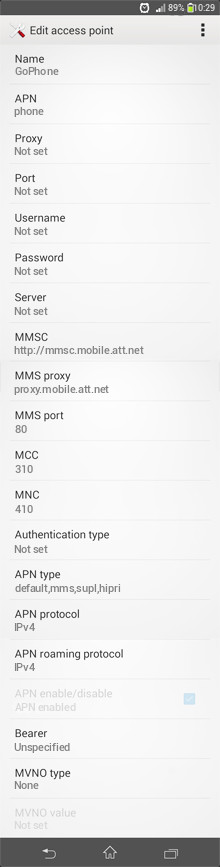 GoPhone  APN settings for Android