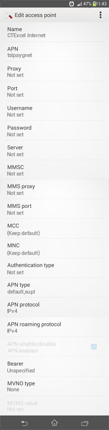 CTExcel Internet APN settings for Android