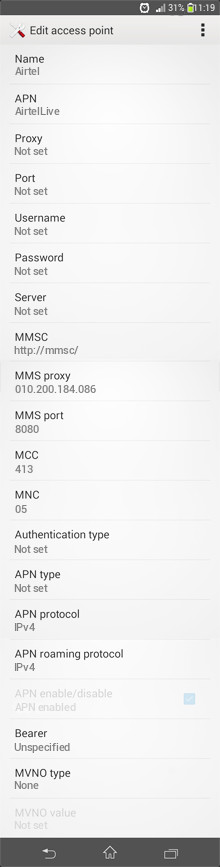 Airtel  APN settings for Android