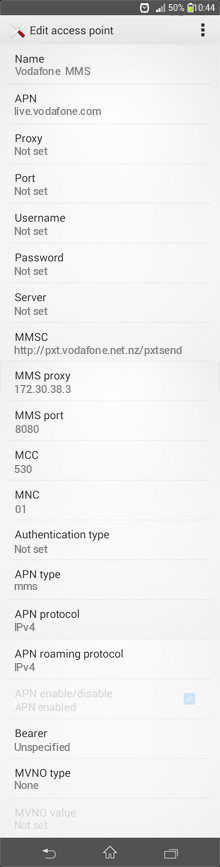 Vodafone  MMS APN settings for Android