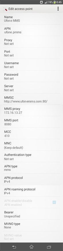 Ufone MMS APN settings for Android