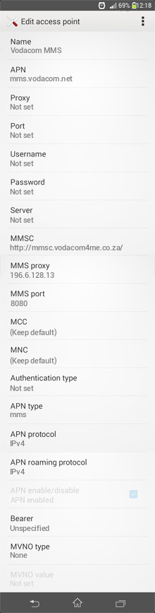 Vodacom MMS APN settings for Android