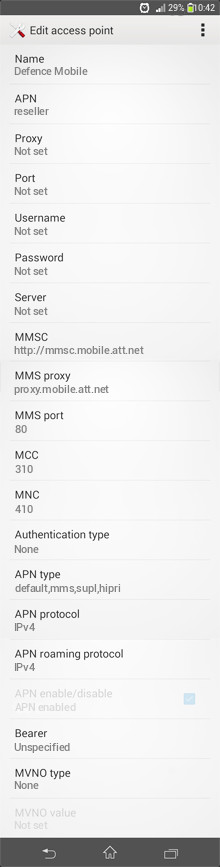 Defence Mobile  APN settings for Android
