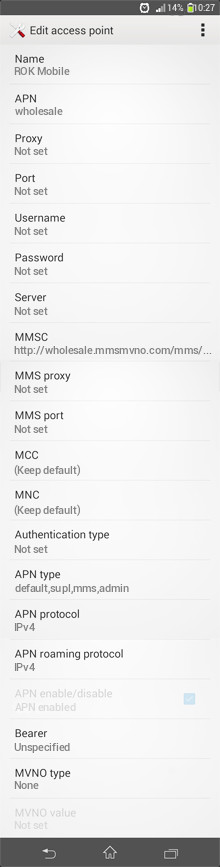 ROK Mobile  APN settings for Android