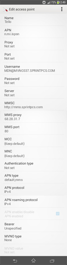 Tello  APN settings for Android