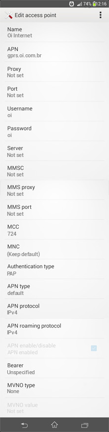 Oi Internet APN settings for Android