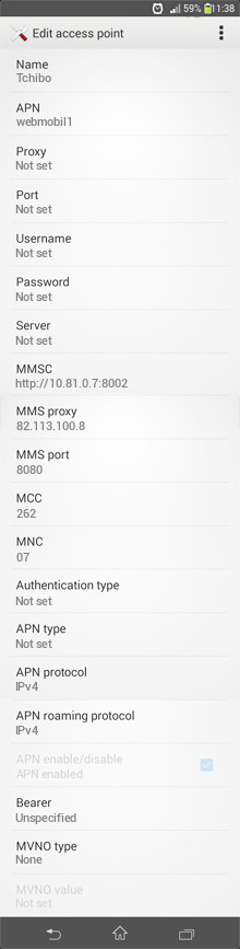 Tchibo  APN settings for Android