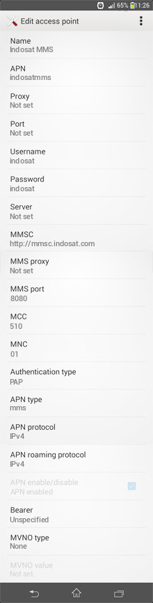 Indosat MMS APN settings for Android