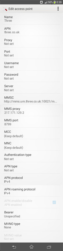 Three  APN settings for Android