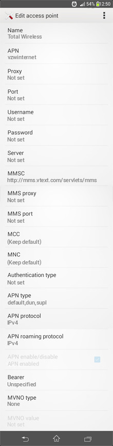 Total Wireless  APN settings for Android