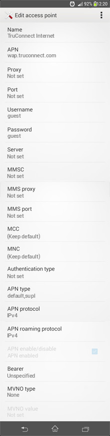 TruConnect Internet APN settings for Android