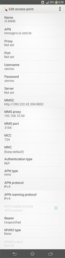 Oi MMS APN settings for Android