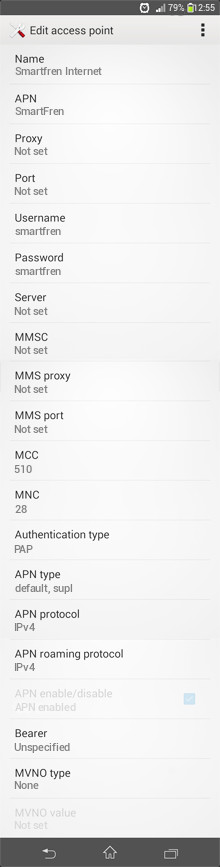 Smartfren Internet APN settings for Android
