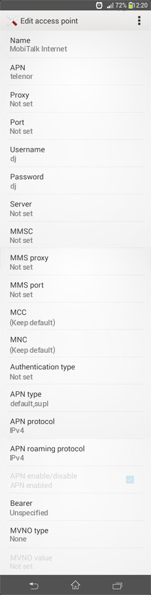 MobiTalk Internet APN settings for Android