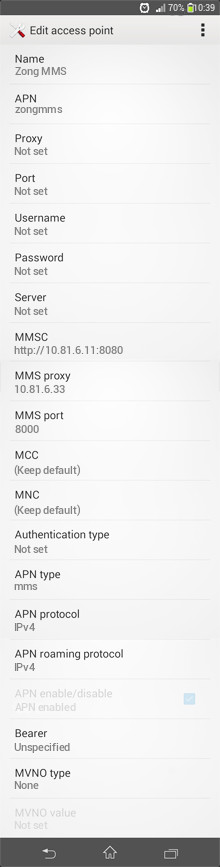 Zong MMS APN settings for Android