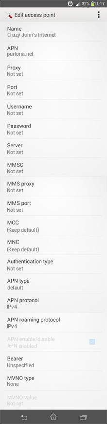 Crazy John's Internet APN settings for Android