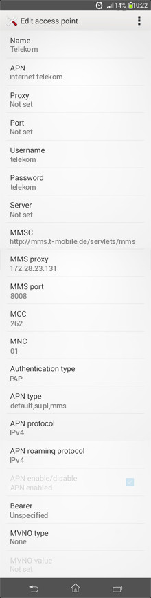 Telekom  APN settings for Android