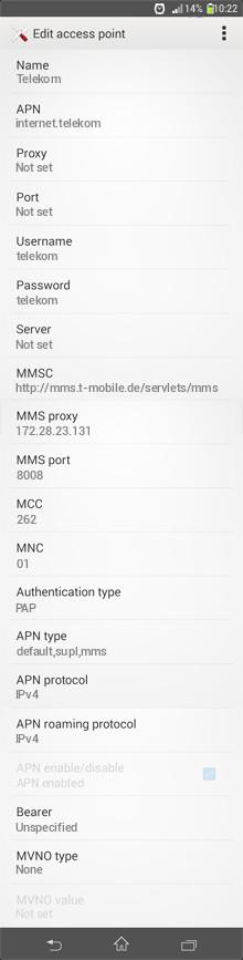 Telekom  APN settings for Android