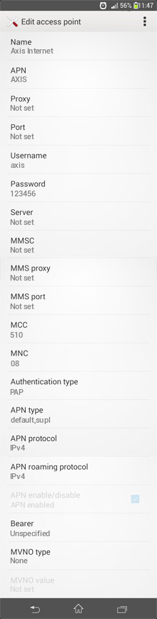 Axis Internet APN settings for Android