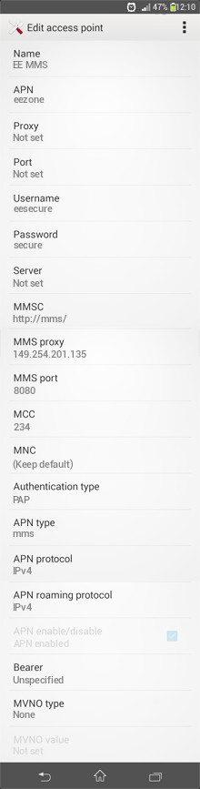EE MMS APN settings for Android