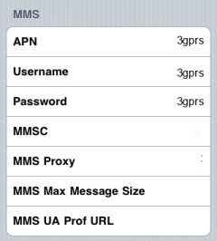 3 Internet APN settings for iPhone