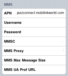 Mobilink Internet APN settings for iPhone