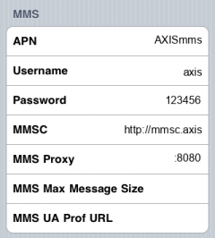 Axis MMS APN settings for iPhone