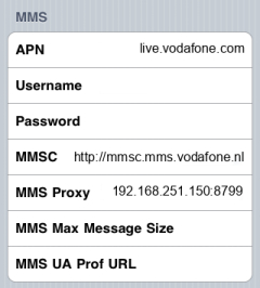Vodafone MMS APN settings for iPhone
