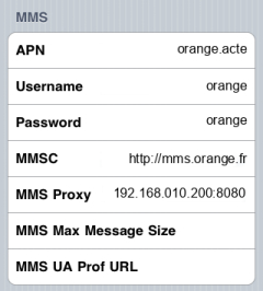 Orange MMS APN settings for iPhone