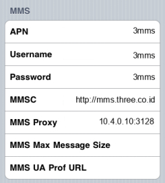 3 MMS APN settings for iPhone