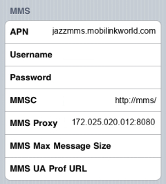Mobilink MMS APN settings for iPhone