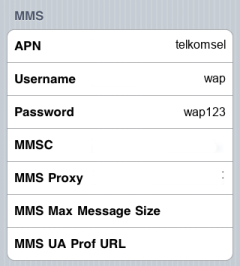 Telkomsel Internet APN settings for iPhone