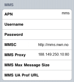 OneCall MMS APN settings for iPhone