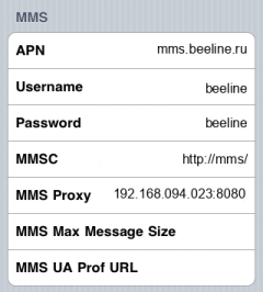 Beeline MMS APN settings for iPhone