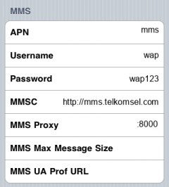 Telkomsel MMS APN settings for iPhone